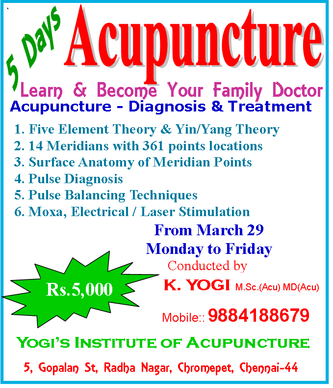 5 days Acupuncture Classes in Chennai