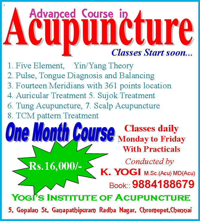 4 days Acupuncture Classes in Chennai