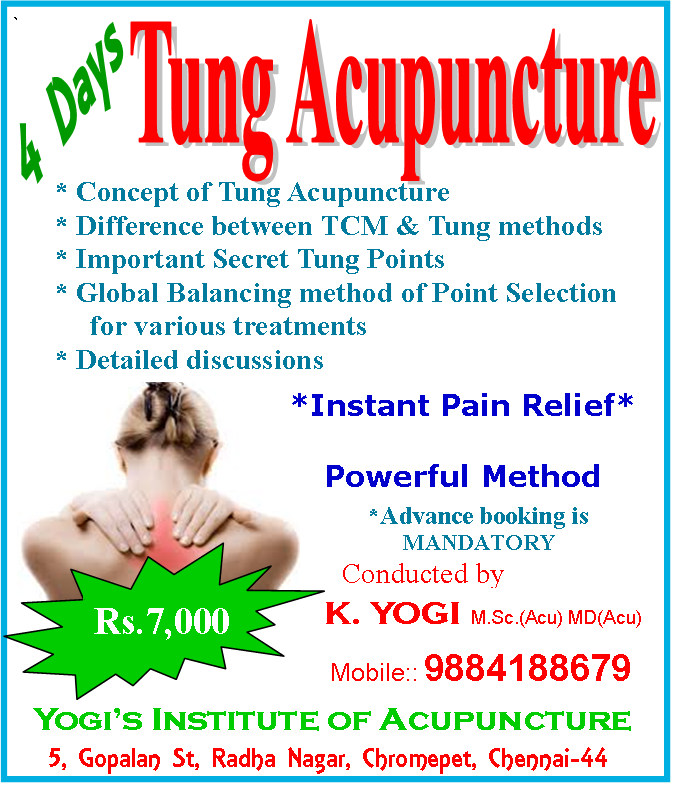 Tung Acupuncture Classes in Chennai